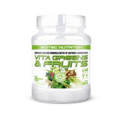 VITA GREENS & FRUITS 600G-SCITEC-Multinutriente a base de plantas. frutas y verduras.