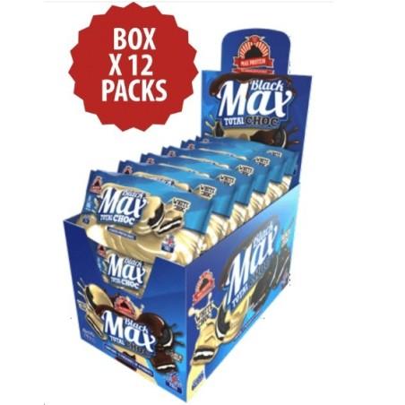 BLACK MAX TOTAL CHOC-12 PACK X 4ud-MAX PROTEIN-Galletas negras proteicas bañadas y rellenas de crema sin azúcares