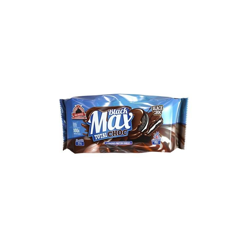 BLACK MAX TOTAL CHOC- 1PACK X 6ud-MAX PROTEIN-Galletas negras proteicas bañadas y rellenas de crema sin azúcares