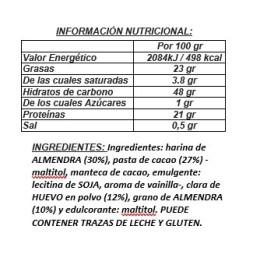 TURRON PRALINE Y ALEMENDRAS PROTEICO- 175g- Artesano y sin azúcares